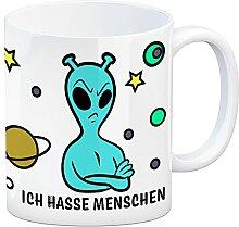 Kaffeebecher mit lustigem Comic Alien Motiv - Ich