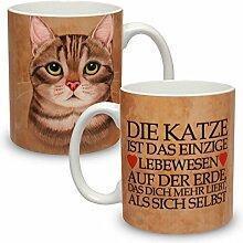 Kaffeebecher mit Motiv Große XXL Tasse Graue Katze