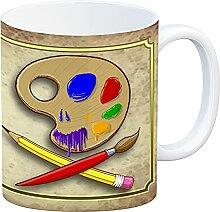Kaffeebecher mit Motiv und Spruch - Kunst kommt
