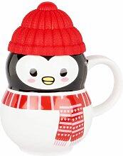 Kaffeebecher mit Pinguin aus Fayence, schwarz,