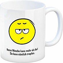 Kaffeebecher mit Spruch: Nasse Wäsche kann mehr