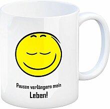 Kaffeebecher mit Spruch: Pausen verlängern Mein