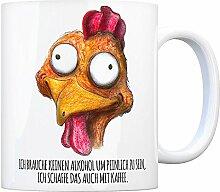 Kaffeebecher mit verrücktes Huhn Motiv und