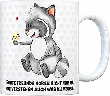 Kaffeebecher mit Waschbär Motiv und Spruch: Echt