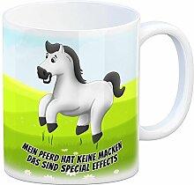 Kaffeebecher mit weißes Pferd Motiv und Spruch: