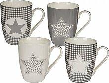 Kaffeebecher New Bone China Porzellan Stern Motiv