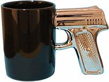Kaffeebecher Pistole schwarz/silber