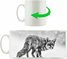 Kaffeebecher Roter Fuchs im Schneegestöber