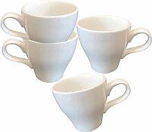 Kaffeebecher Set stapelbar Espresso Tassen weiß
