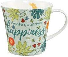 Kaffeebecher Tasse Happiness Porzellan 9,5cm 350ml