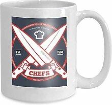Kaffeebecher Tee Cupchefs Vintage Druck 110z
