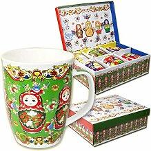 Kaffeebecher Teebecher Set Matröschka mit Geschenkbox