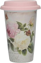 Kaffeebecher to go ROSE GARDEN weiß rosa H. 15cm