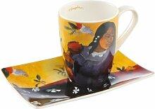 Kaffeebecher & Untertasse Frau mit Mango aus Bone