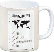 Kaffeebecher Urlaubscheckliste für Partyurlaub
