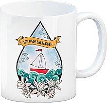 Kaffeebecher Urlaubweh mit maritimen Motiven