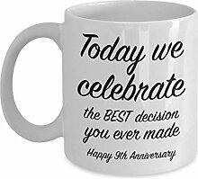 Kaffeebecher zum 9. Jahrestag, Geschenkidee für