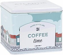 Kaffeedose aus Metall, mit aufgedrucktem