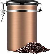 Kaffeedose, Kaffeedose Luftdicht, Kaffeedose Edelstahl, Kaffeebehälter Luftdichte Aromadose Vorratsdose Edelstahldose Vakuum Dose für Kaffeebohnen, Pulver, Tee, Nüsse, Kakao(Goldene, 1.8 Liter)