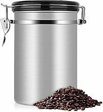 Kaffeedose, Kaffeedose Luftdicht, Kaffeedose Edelstahl, Kaffeebehälter Luftdichte Aromadose Vorratsdose Edelstahldose Vakuum Dose für kaffeebohnen dose, Pulver, Tee, Nüsse(Silber, 1.8 Liter)