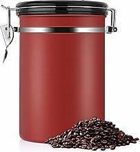 Kaffeedose, Kaffeedose Luftdicht, Kaffeedose Edelstahl, Kaffeebehälter Luftdichte Aromadose Vorratsdose Edelstahldose Vakuum Dose für Kaffeebohnen, Pulver, Tee, Nüsse, Kakao(Rot, 1.8 Liter)