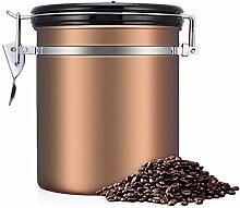 Kaffeedose, Kaffeedose Luftdicht, Kaffeedose Edelstahl, Kaffeebehälter Luftdichte Aromadose Vorratsdose Edelstahldose Vakuum Dose für Kaffeebohnen, Pulver, Tee, Nüsse, Kakao(Goldene, 1.5 Liter)