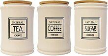 KAFFEEDOSE KLASSIK KERAMIK VORRATSDOSE LANDHAUS KAFFEEDOSE TEEDOSE NOSTALGIE (Groß, Sugar)