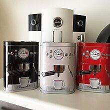 Kaffeedose LOOKS LIKE Espressomaschine Metalldose 3D Vintage Retro Nostalgie (schwarz)