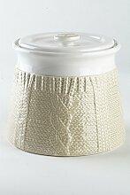 Kaffeedose / Vorratsdose aus Porzellan / Keramik, bicolor, weiß - sandfarbend, 1400 ml. Volumen, in schicker Strickoptik, aus der Kollektion Pullover von TOGNANA