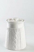 Kaffeedose / Vorratsdose aus Porzellan / Keramik, weiß, 900 ml. Volumen, in schicker Strickoptik, aus der Kollektion Pullover von TOGNANA