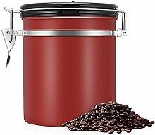 kaffeedose,vorratsdosen luftdicht,kaffeedose luftdicht, Kaffeedose Edelstahl, Kaffeebehälter Luftdichte Aromadose Vorratsdose Edelstahldose Vakuum Dose für Kaffeebohnen, Pulver, Tee(Rot, 1.5 Liter)