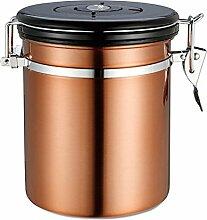 Kaffeedosen, HimanJie 1.5L Edelstahl Kaffeedose Vorratsdose Vakuum Dose für kaffeebohnen dose, Pulver, Tee, Nüsse, Kakao (Gold)