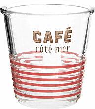 Kaffeeglas aus rot-schwarz bedrucktem Glas