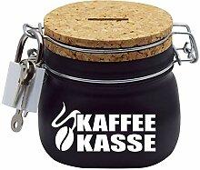 Kaffeekasse Spardose in Schwarz mit Korkdeckel und