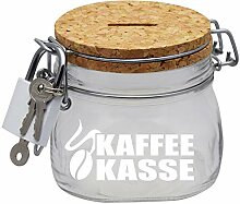Kaffeekasse Spardose mit Korkdeckel und