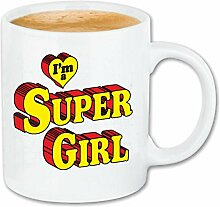 "Kaffeetasse """"IM A SUPER GIRL SUPER HELD SUPER WOMEN GESCHENKIDEE """" Keramik 330 ml in Weiß"