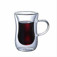 Kaffeetasse aus Glas doppelwandig mit Henkel,