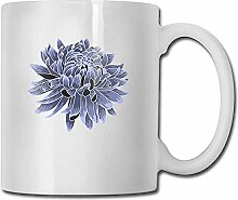 Kaffeetasse Lustige blaue Chrysantheme weiße