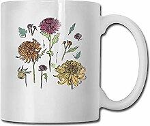 Kaffeetasse Lustige japanische Chrysantheme weiße