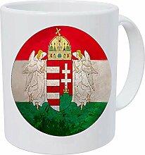 Kaffeetasse mit ungarischem Flaggenmuster aus