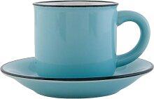 Kaffeetasse mit Untertasse ENAMEL BLAU D. 11cm H. 7cm Keramik Clayre & Eef (6,95 EUR / Stück)