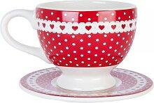 Kaffeetasse mit Untertasse PUNKTE + HERZEN H. 8cm Keramik weß rot Clayre & Eef (8,95 EUR / Stück)