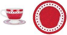Kaffeetasse mit Untertasse + Teller PUNKTE + HERZEN weß rot Clayre & Eef (19,95 EUR / Stück)