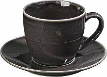 Kaffeetasse mit Unterteller in schwarz-braun