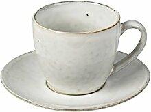 Kaffeetasse mit Unterteller NORDIC SAND Steingut