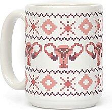 Kaffeetasse mit Uterus-Pullover-Muster, weiß, 425