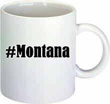 Kaffeetasse #Montana Hashtag Raute Keramik Höhe 9,5cm ? 8cm in Weiß