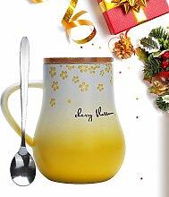 Kaffeetasse Schwester Tassemit Deckel & Löffel 12Oz/350ml Keramik Becher Lustig/Niedlich Weihnachtsgeschenk Tassen Geschenk für Frauen/Männer/Mutter/Freundin(Gelb)