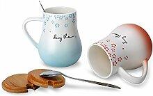 Kaffeetasse Set Schwester Tassemit Deckel & Löffel 12Oz/350ml Keramik Becher Lustig/Niedlich Weihnachtsgeschenk Tassen Geschenk für Frauen/Männer/Mutter/Freundin(Rot/Blau)