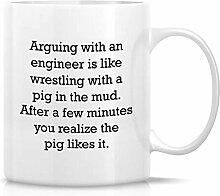 Kaffeetasse Streit mit einem Ingenieur wie